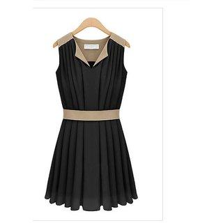 Women's Super Fine Quality & Trendy Classy V-Neck Chiffon Pleated Dress