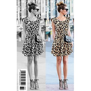 Elegant Sleeveless Leopard Pattern Casual Print Short Dress