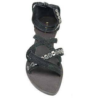 JerryMouse.in Womens Black Leather Sandals - WSAN0003