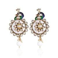 Rajwada Arts Stylish Peacock Earring With White Stones