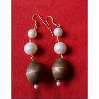 Handcrafted Metal Pearl Dangler Earrings