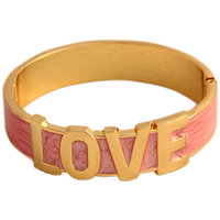 Young & Forever  French Rose Love Enamel Gold Cuff Bracelet For Women