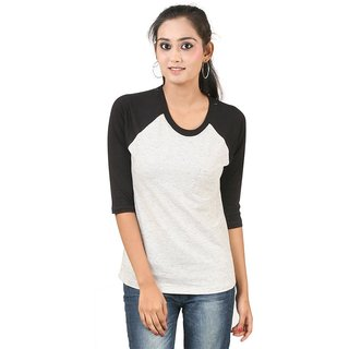 Hypernation  White Color Full Sleeves Round Neck T-Shirt For Women