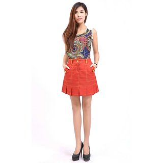 Hi Fashion Reddish Orange Pleated Mini Skirt Hurry...limited Stock...