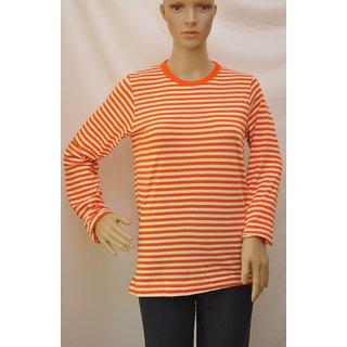 "T Shirt Womens Full Sleeve Cotton Colour Orange,White Stripes Size""M"" UCTSL076"