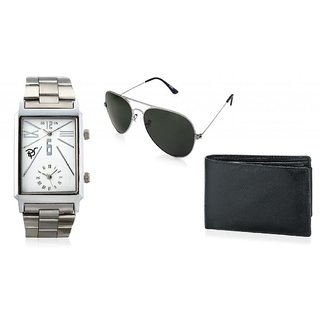 RICO SORDI Mens Square Multifunctional Dual Time Watches With Stainless Steel Strap With Sunglass & Wallet