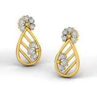 Sparkles Presents Diamond Earrings In 18 Kt Gold & Real Diamonds. Gr Wght 1.194 Grms, Diam Wght 0.05 Crts.
