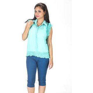 TrendBAE Classic Ruffled Shirt - Green