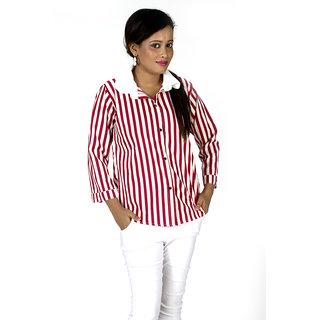TrendBAE Long Stripe Shirt - Maroon