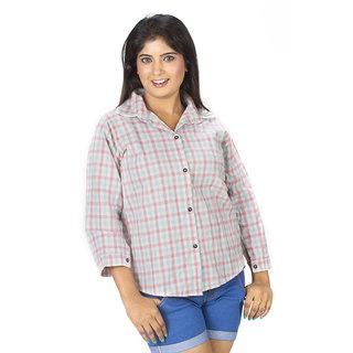 TrendBAE Checkered Cotton Shirt - Faded Pink