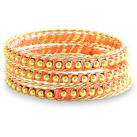 Young & Forever  Peach Gold Embellished Bangle Bracelet (Set Of 7) For Women