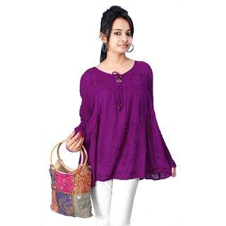 Vihaan Impex Purple Rayon Crepe Handmade Handloom Designer Tunic