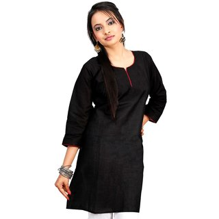 Vihaan Impex Black Pure Cotton Handmade Handloom Indian Kurti