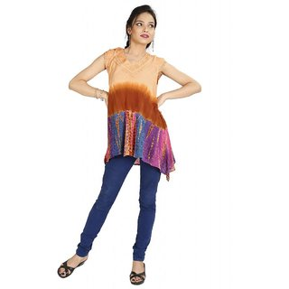 Vihaan Impex Pretty Multi Crepe Handmade Handloom Tie Dye Indian Kurti