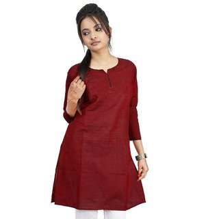Vihaan Impex Maroon Pure Cotton Handmade Handloom Indian Kurti
