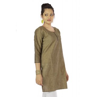Vihaan Impex Light Bronze Indian Pure Cotton Ethnic Ladies Kurti