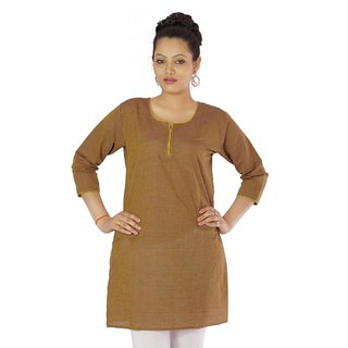 Vihaan Impex Golden Brown Indian Pure Cotton Ethnic Ladies Kurti
