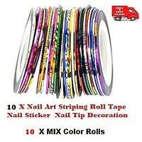 5 X MIX Color Nail Art Striping Roll Tape And 5 Sheet Nail Art Sticker -Nail Tip Decoration