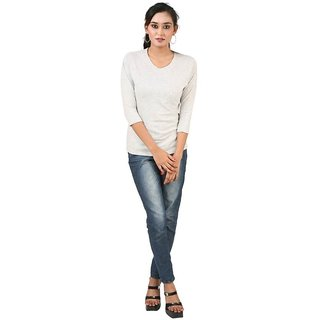 Hypernation Offwhite Color Full Sleeves Casual T-Shirts For Women
