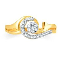 Pure Gold Jewellers 18kt Yellow Gold Pressure Set Cluster Ring With 24pcs Of 0.19cts Diamonds