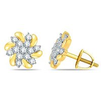 Pure Gold Jewellers 18kt Yellow Gold Floral Cluster Earring With 26pcs Of 0.52cts Diamonds