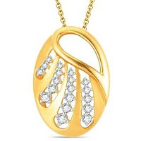 Pure Gold Jewellers 18kt Yellow Gold Oval Pendant With 19pcs Of 0.26cts Diamonds