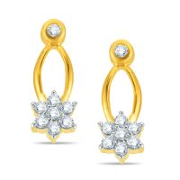 Pure Gold Jewellers 18kt Yellow Gold Floral Cluster Earring With 16pcs Of 0.25cts Diamonds