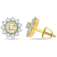 Beautifully Crafted Cluster Floral Earring By Pure Gold Jewellers In 18kt Yellow Gold With 24pcs Of 0.58cts Diamonds