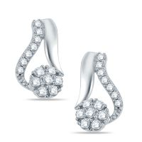 Pure Gold Jewellers 18kt White Gold Floral Cluster Earring With 28pcs Of 0.40cts Diamonds