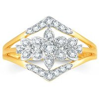 Pure Gold Jewellers 18kt Yellow Gold Elegant Ring With 27pcs Of 0.25cts Diamonds