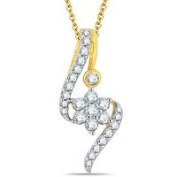 Pure Gold Jewellers 18kt Yellow Gold Floral Cluster Pendant With 26pcs Of 0.31cts Diamonds