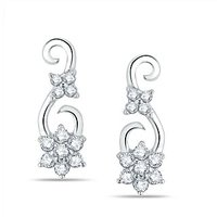Pure Gold Jewellers 18kt White Gold Floral Cluster Earring With 22pcs Of 0.25cts Diamonds