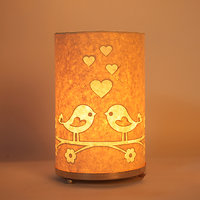 Craftter Round Love Bird Textured Yellow Table Lamp