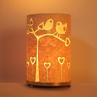 Craftter Round Bird On Tree Textured Yellow Table Lamp