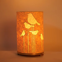 Craftter Round Abstract Bird Textured Yellow Table Lamp