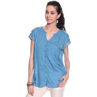 Girls Blue Cotton Chinese/Mandarin Collar Solids Top | UEA-MELVIN1