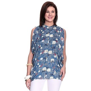 Girls Blue Polyester Chinese/Mandarin Collar Printed Top | UEA-DANIELB