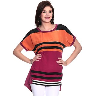 Girls Orange Polyester Round Striped Top | PH-ORIGAN1
