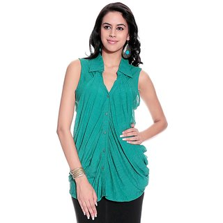 Girls Green Polyester Basic Collar Solids Top | PH-GRIFFE10
