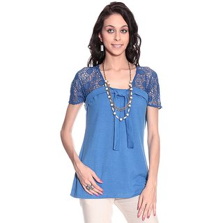 Girls Blue Polyester Square Solids Top | PH-SILAS7