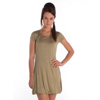 Bombay High Lycra Viscose Olive Green Regular Dress