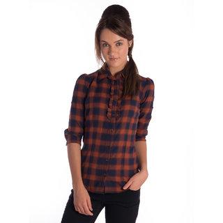 Bombay High Cotton Rust Navy Slim Shirt