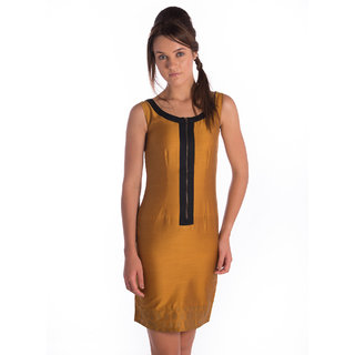 Co.In Cotton Mustard Comfort Fit Dress