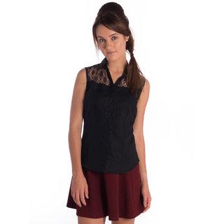 Bombay High Cotton Linen Black Slim Shirt
