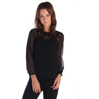 Vanity Collection Polyester Black Slim Top