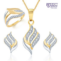 Sukkhi Fabulous Gold And Rhodium Plated CZ Pendant Set And Ring Combo