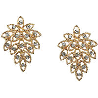 Young & Forever Dazzling Gold Leaf Designer Stud Earrings For Women By Crazeeman