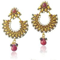 Beautiful Ethnic Earrings With Red Green Stones And Pearls By Adiva Abchi0Aga001