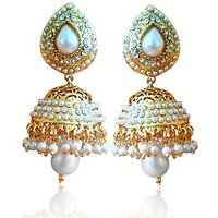 Ethnic Pearl Jhumka Earrings With White Stones By Adiva Absat0Cb0102