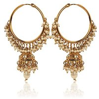 White Hoop Earrings With Pearls By Adiva Abswe0Bi0028